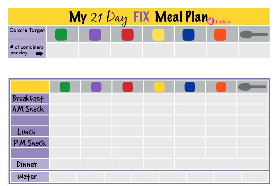 Juicy image within 21 day fix printable meal planner