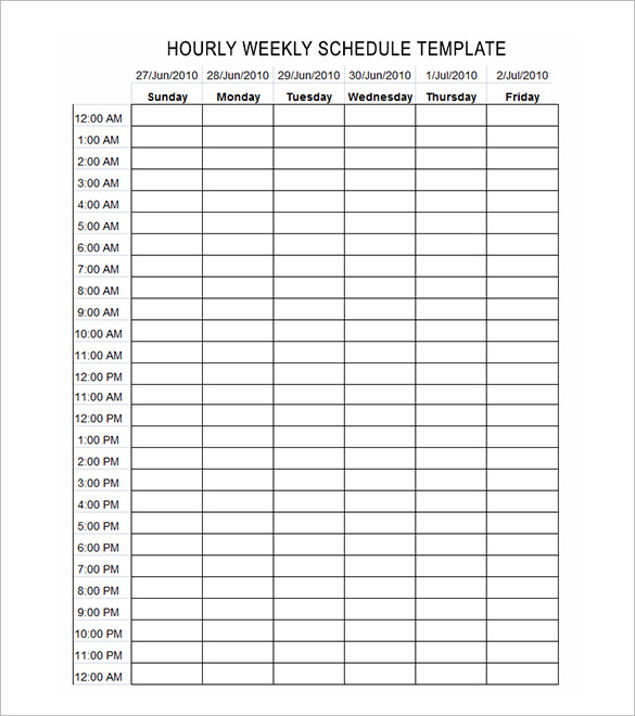 24 hour schedule template