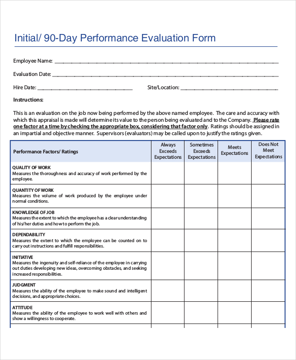 90 day review template