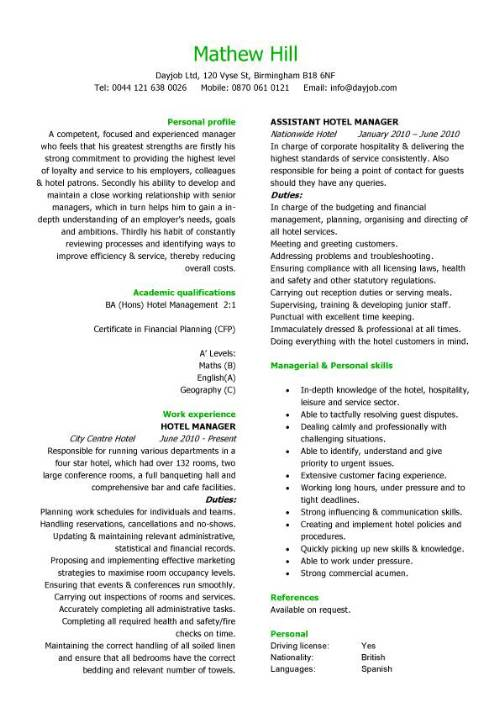 Hospitality manager resume northurthwall yelopaper Image collections