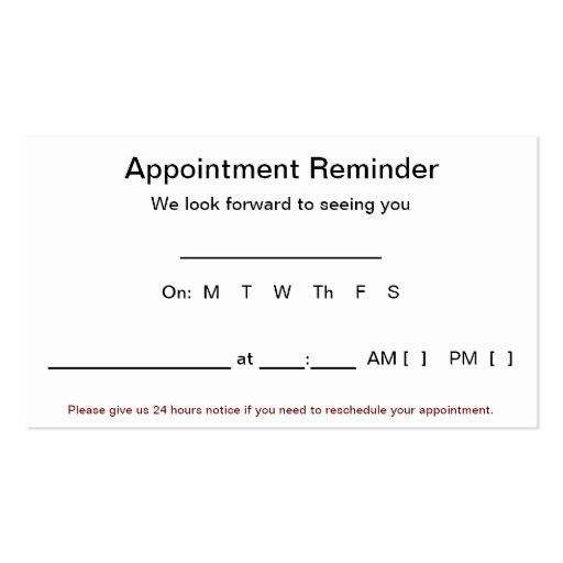 appointment reminder template