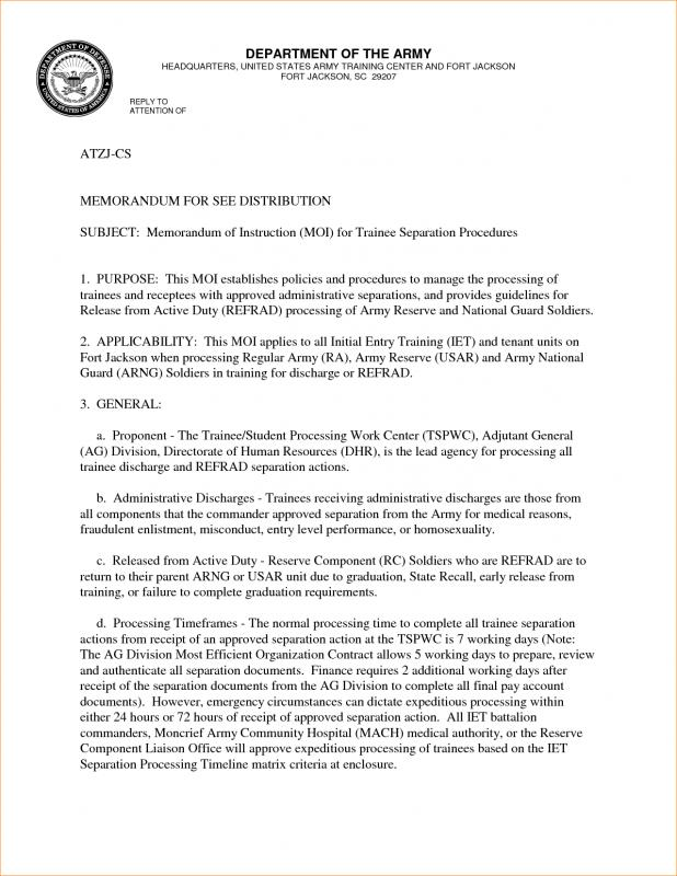 Army memorandum for record template for Military memo template