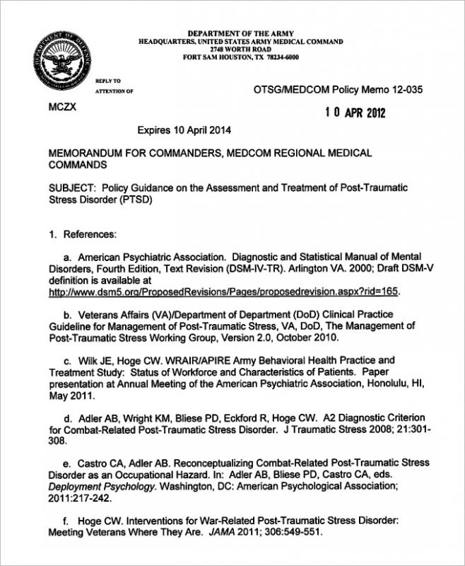 counseling memo template - army memorandum for record template