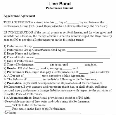 artist contract template