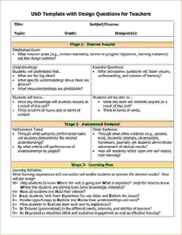 Backward design template - Understanding by design lesson plan template ...