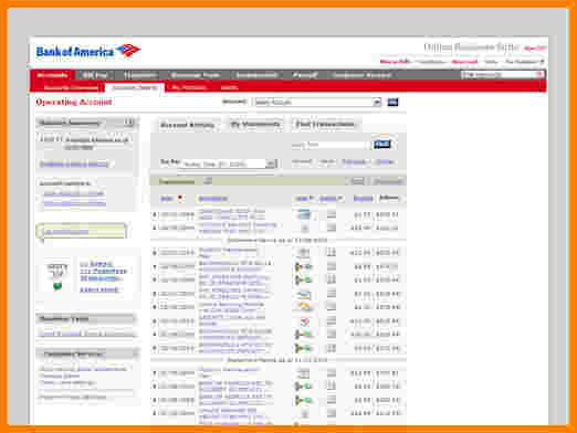 bank of america bank statement template
