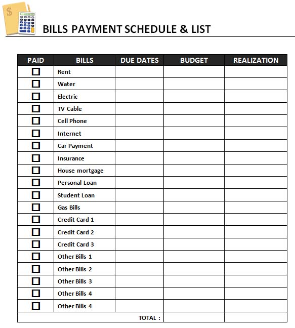 bill pay template