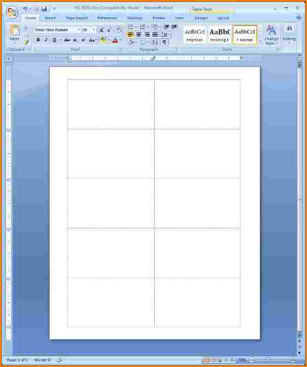 blank business card template microsoft word