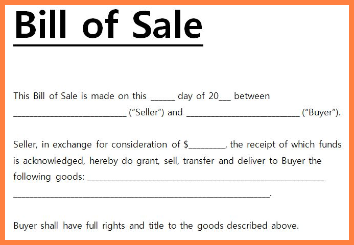 boat bill of sale template