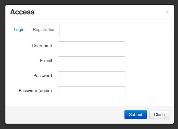 Bootstrap form template for Jquery registration form template