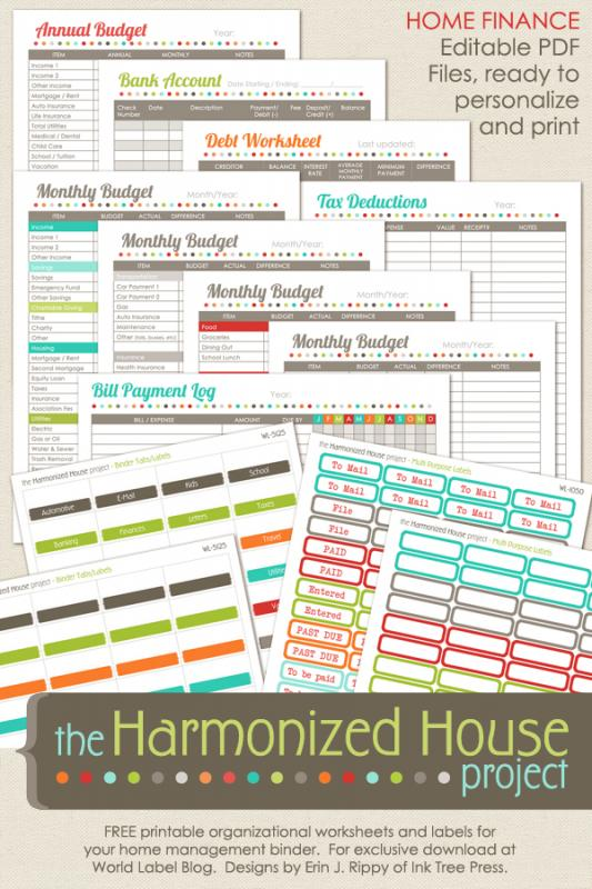 budget worksheet template