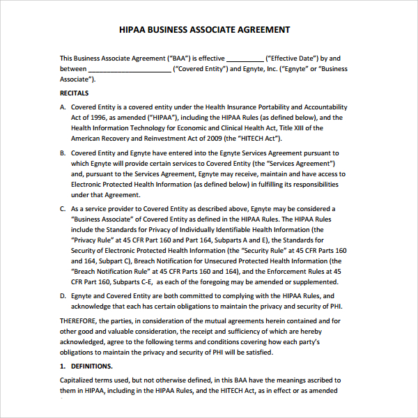 Business associate agreement template shatterlionfo business associate agreement template accmission Choice Image