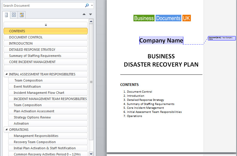 Business continuity and disaster recovery plan template enterprise continuity and disaster recovery plan template business wajeb Images