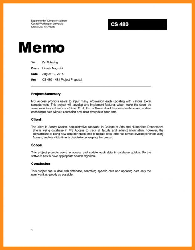 Business Memo Template  Project Memo Template