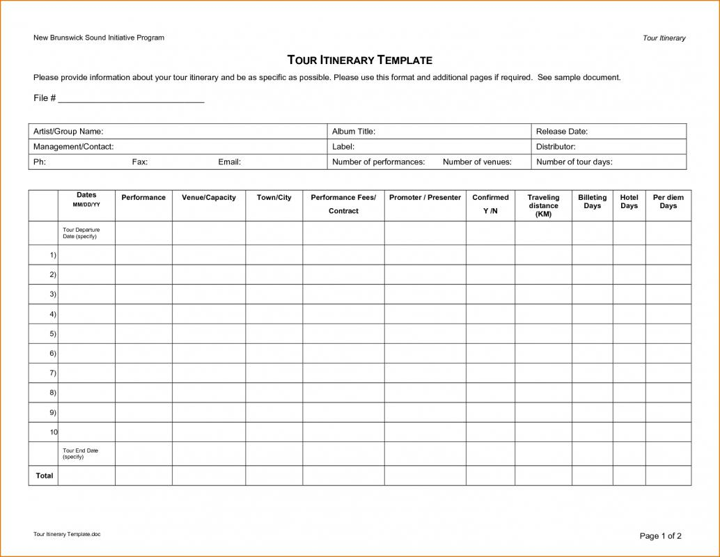 Enterprise Travel Itinerary Template. Business Travel Itinerary Template