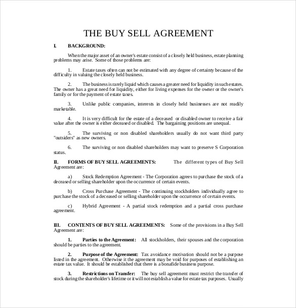 Buy Sell Agreement Template Shatterlionfo
