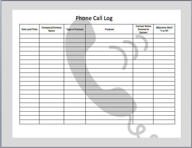 Call Log Template Excel Shatterlionfo