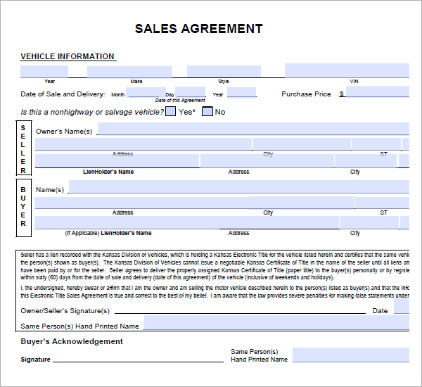 Car Sale Contract With Payments Template Shatterlion Info
