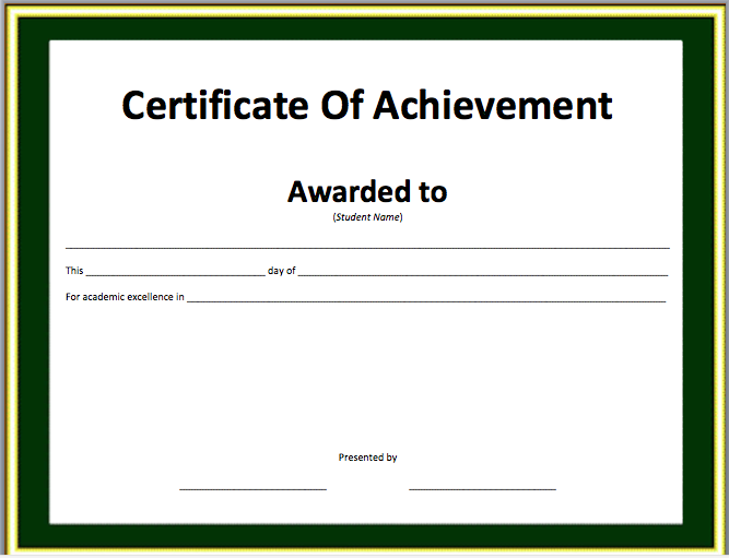 Certificate Of Achievement Template Free Shatterlionfo