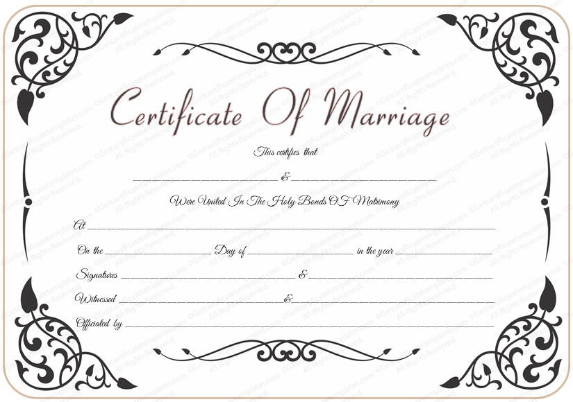 Superb Free Printable Marriage Certificate   North.fourthwall.co  Certificates Free Download Free Printable