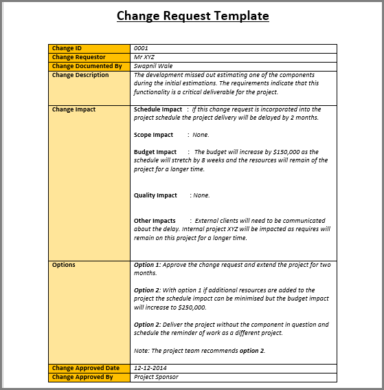 change control template