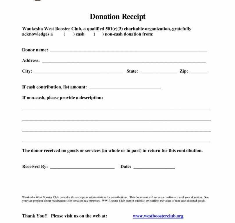 charitable donation form template