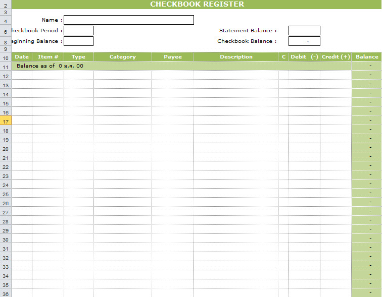 bank transaction register template - check register template excel