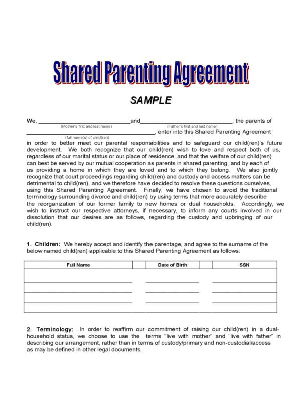 joint custody parenting plan template - child custody agreement template
