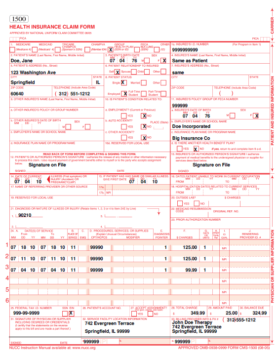 graphic relating to 1500 Claim Form Printable referred to as Cms 1500 Template