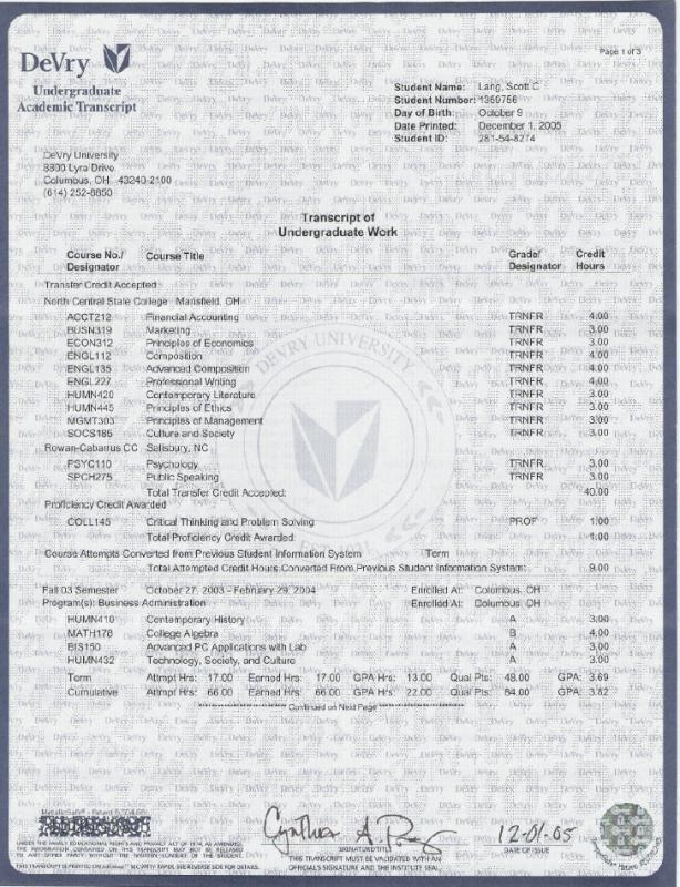 college transcript template