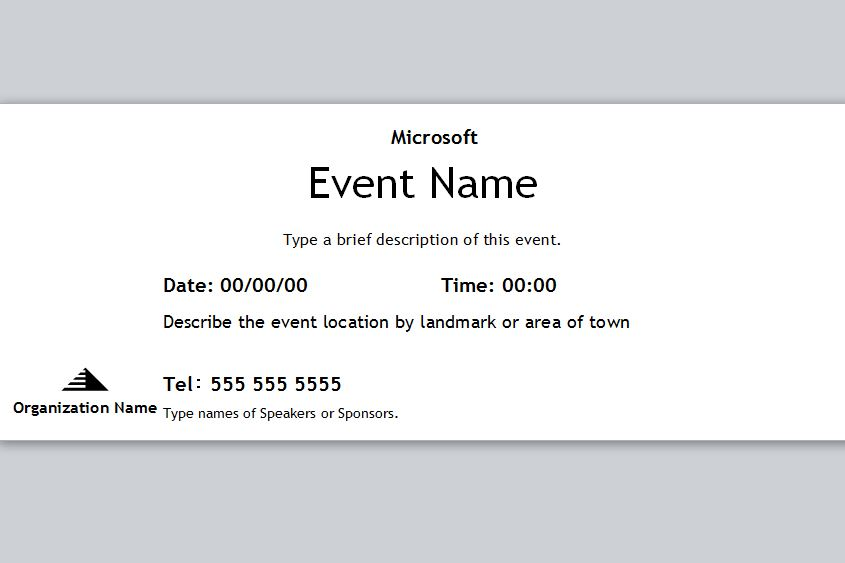 ticket template for word