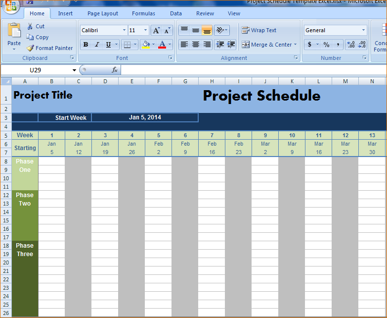 construction schedule template excel
