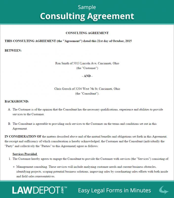 Consulting Agreement Template Short  ShatterlionInfo