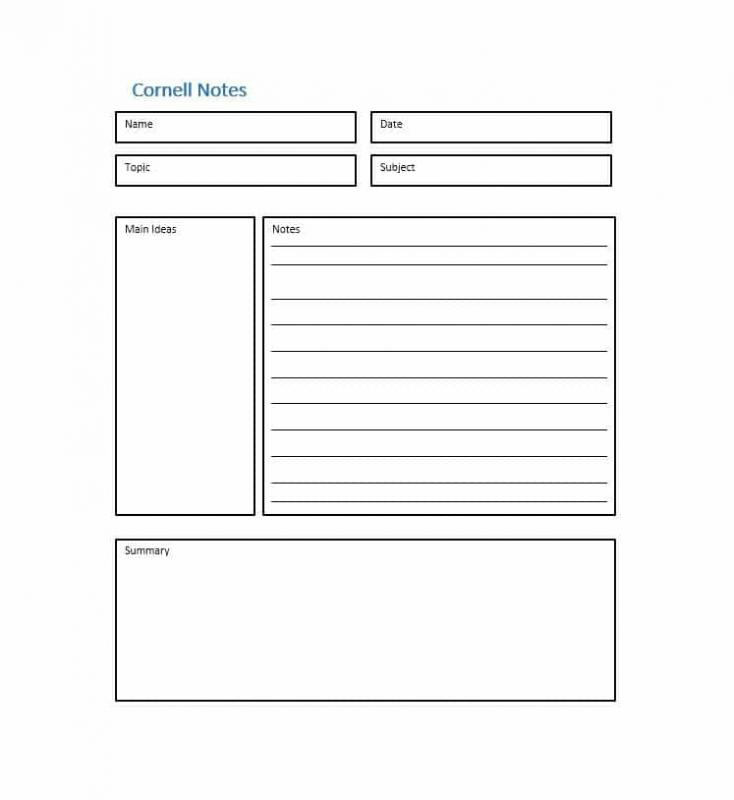Cornell Notes Template | shatterlion.info