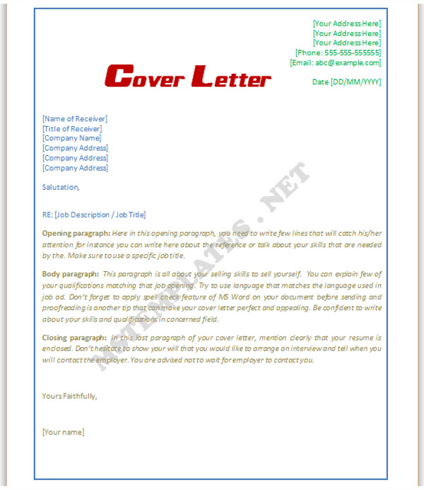 word template cover letters