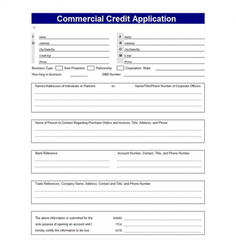 credit application template