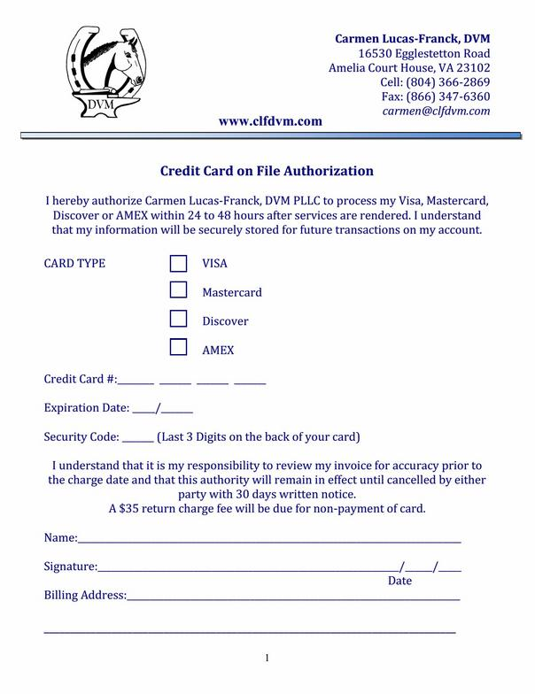 credit card on file authorization form template