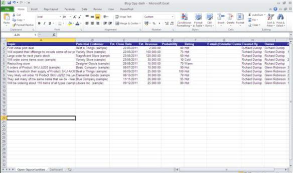 crm excel template