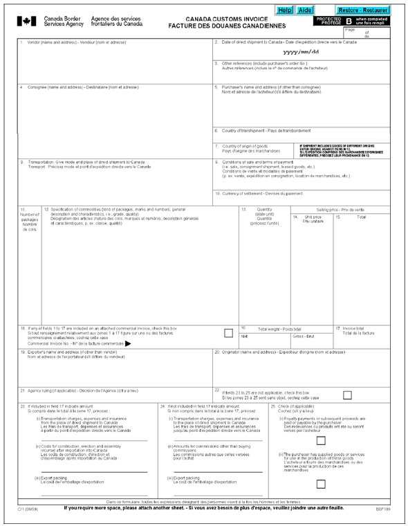 customs invoice template