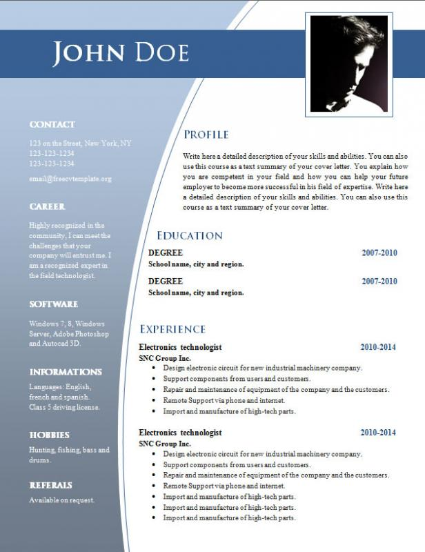 Cv Templates Free Download Word Document