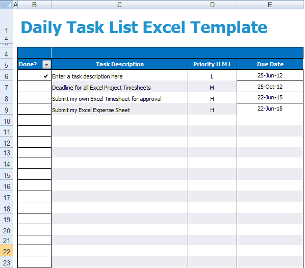 daily task template