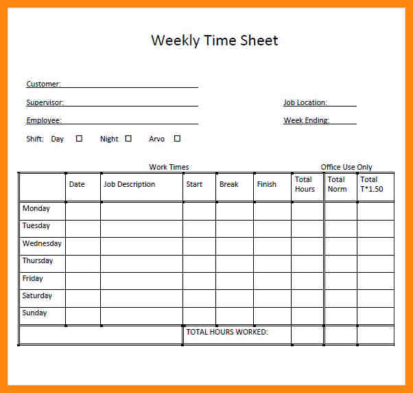 daily timesheet template