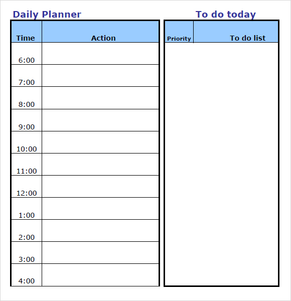 photo regarding Free Daily Calendar called Every day Towards Do Record Template Excel