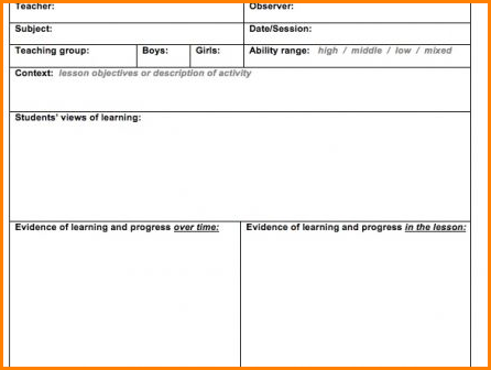 Lesson Plan Observation Template Images Template Design Free Download