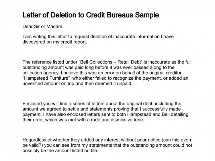 dispute letter to credit bureau template