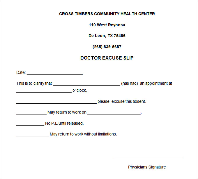 doctor excuse template for work
