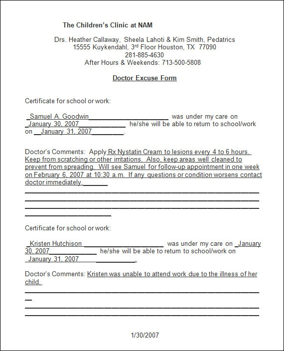 Doctors Note Template | shatterlion.info