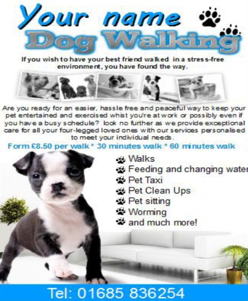 dog walking flyer template free - dog walking flyer template