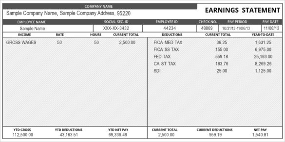 earnings statement template