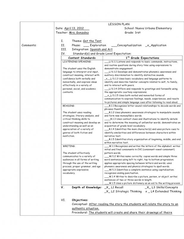 Elementary Lesson Plan Template Shatterlioninfo - Elementary lesson plan template